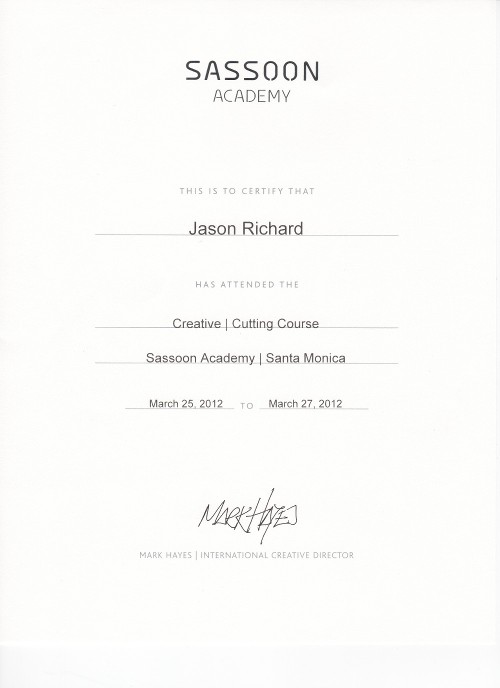 Sassoon Certificate Creative Cutting